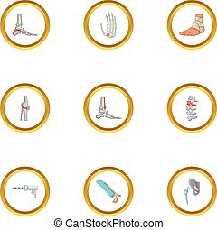 Surgical intervention icons set, cartoon style