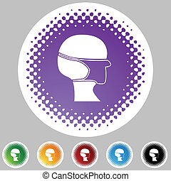 Surgical mask Halftone Icon Set