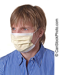 Surgical mask - yellow mask covering face
