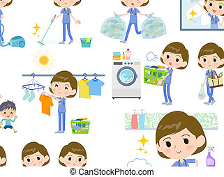 A set of Surgical Doctor women related to housekeeping such as cleaning and laundry. There are various actions such as cooking and child rearing. It's vector art so it's easy to edit.