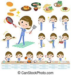 surgical operation blue wear women_cooking - A set of...