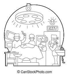 Surgical operation in hospital concept. Outline illustration...