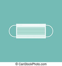 Surgical or hygiene mask icon, flat design vector