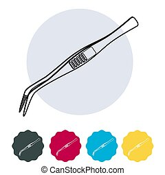 Surgical Tool - Bent Tip Tweezers Stock Illustration as EPS 10 File