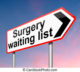 Surgical waiting list concept.