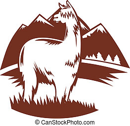 suri alpaca with mountains in the background - illustration...