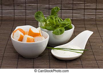 surimi tzatziki and salad