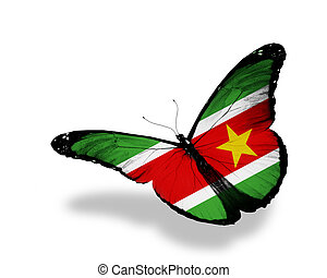 Suriname flag butterfly flying, isolated on white background
