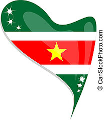 suriname flag button heart shape. vector