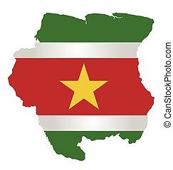 Suriname Flag - Flag of the Republic of Suriname overlaid on...