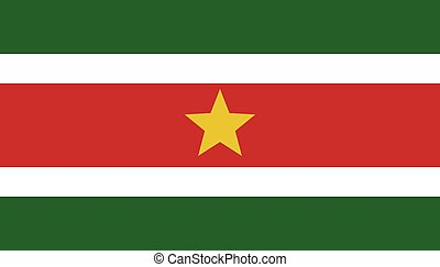 Suriname  flag. Simple vector. National flag of Suriname