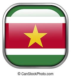 Suriname Flag square glossy button