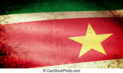 Suriname Flag Waving, grunge look