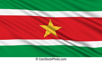 Suriname Flag, with real structure of a fabric