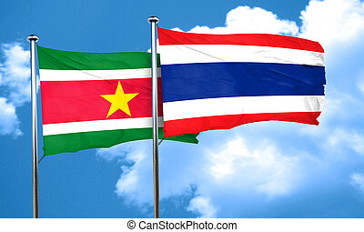 Suriname flag with Thailand flag, 3D rendering