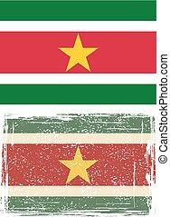Suriname grunge flag. Vector illustration. Grunge effect can...