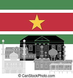 Suriname - State flag and architecture of the country....