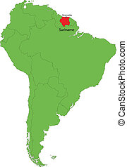 Suriname map - Location of Suriname on the South America
