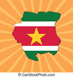 Suriname map flag on sunburst
