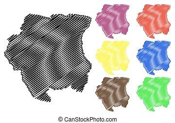 Suriname map vector illustration, scribble sketch Suriname