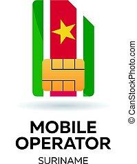 Suriname mobile operator. SIM card with flag. Vector illustration.