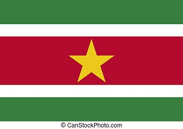 Suriname national flag. Vector illustration. Paramaribo