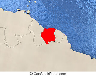 Suriname on physical map Suriname highlighted in red on stock