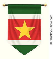 Suriname Pennant - Suriname flag or pennant isolated on...