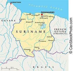 Map suriname paramaribo 3dillustration Map of vectors