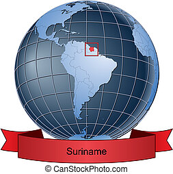 Suriname, position on the globe Vector version with separate...