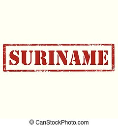 Suriname-red stamp - Grunge rubber stamp with text...