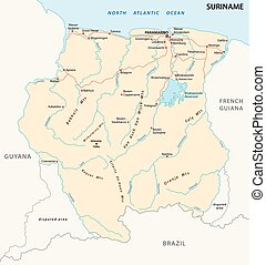 suriname road map - Vector road map of the South American...