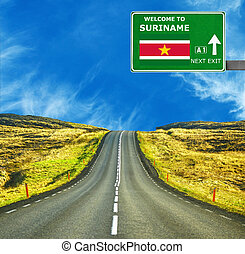 Suriname road sign against clear blue sky