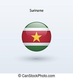 Suriname round flag. Vector illustration. - Suriname round...