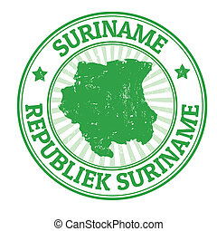Suriname stamp - Grunge rubber stamp with the name and map...