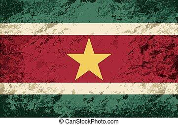Surinamese flag. Grunge background.