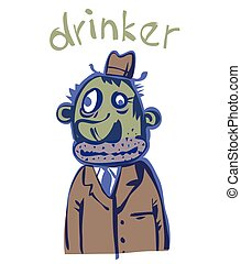 Surly alcoholic Vector illustration