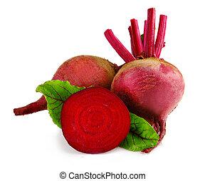 surowy, burak, warzywa, z, kromka, i, zielone listowie, izolować, na białym, tło
