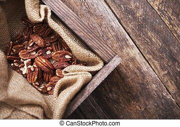 surowy, drewno, paka, pecans