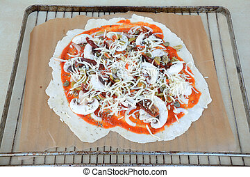 surowy, formułować, nieregularny, pizza
