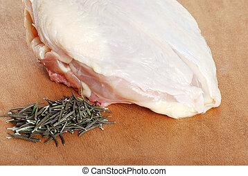 surowy, kurczak, rozmaryn, pierś