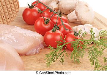 surowy, kurczak, warzywa, pierś