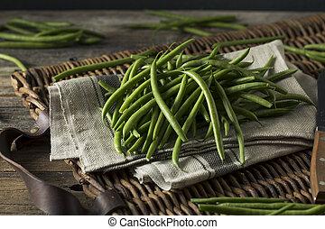surowy, organiczny, zielony, francuskie fasole
