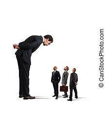 surowy, szef, humiliates, jego, pracownicy