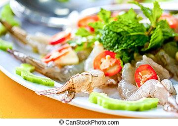 surowy, thai, -, półmiski, krewetki