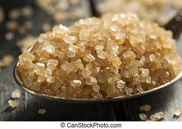 surowy, trzcina, organiczny, cukier