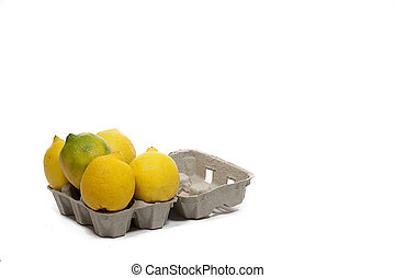 surpising lemons in a cardboard box for eggs