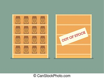 Surplus and Shortage economic concept. Vector Illustration
