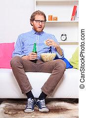 surpreendido, homem, sofá