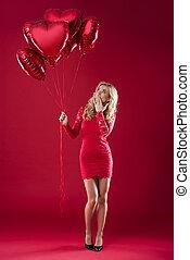 surpreendido, mulher, com, um, grupo, balões